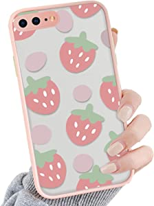 OTTARTAKS iPhone 8 Plus Case Clear Pink Strawberry Design, iPhone 7 Plus Case for Girls Women Cute, Shockproof PC Back and Soft TPU Bumper Protective Slim Fit Case for iPhone 7 Plus/8 Plus 5.5inch
