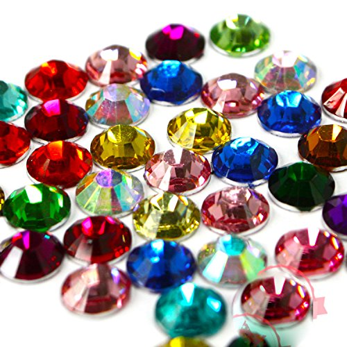 3mm,4mm,5mm,6mm DIY Resin Round Rhinestones Gems 14 facets Flatback Ship with Samples from GreatDeal68 (6mm (450 pcs), Assorted Colors)