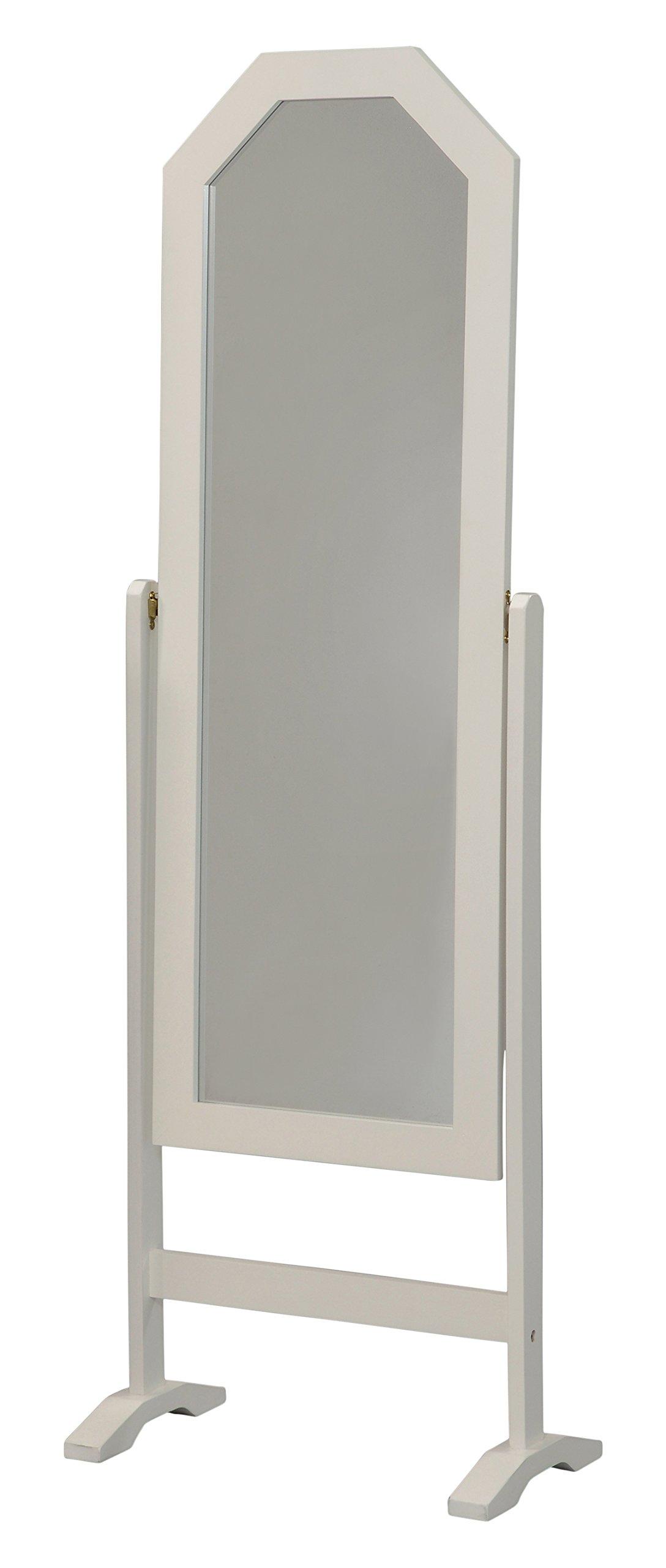 Kings Brand Furniture Biorka White Finish Wood Free Standing Rectangular Floor Mirror