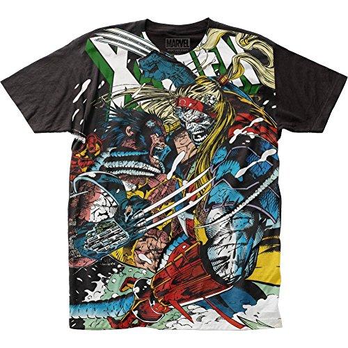 Impact X-Men Marvel Comics Wolverine vs Omega Adult Big Print Subway T-Shirt Tee,Black,Large