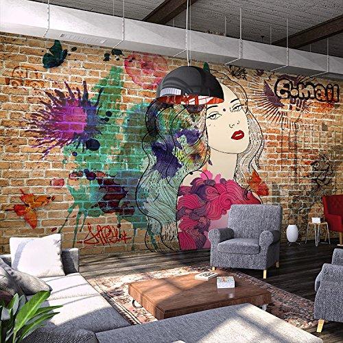 Yosot Retro Brick Graffiti Girl 3D Wallpaper Murals Restaurants Bars Cafes Clothing Stores Background Wallpaper-140Cmx100Cm