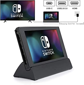 Replacement for Nintendo Switch Dock, VOGEK TV Dock Station Portable Charging Docking Playstand for Nintendo Switch Charge and Play with Type C to HDMI TV Adapter, USB 3.0 2.0