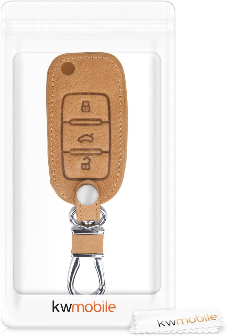 kwmobile Car Key Cover Compatible with VW Skoda SEAT 3 Button Car Key PU Leather Protective Key Fob Cover Light Brown