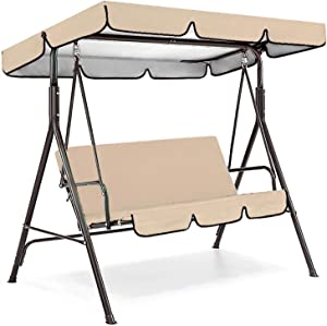 Sprouter Patio Swing Canopy Replacement Top Cover + Swing Cushion Cover Set, Replacement Cushion Cover for 3 Seater Swing, Garden Seater Sun Shade Treasures Porch Swing Protector Cover(Beige)