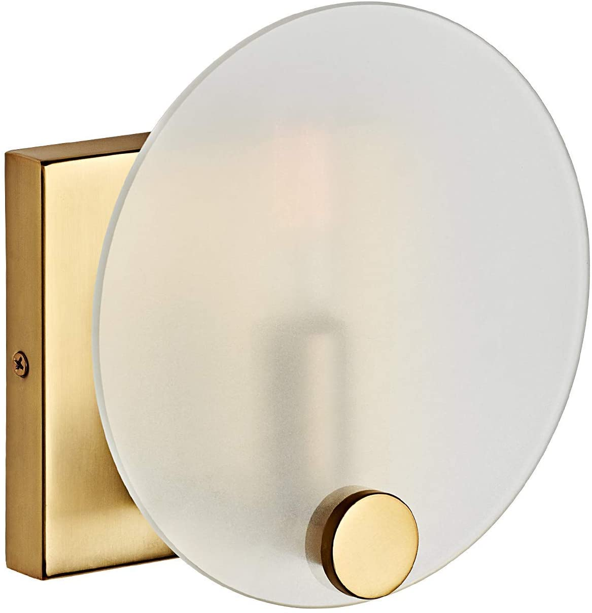 Motini 1 Light Gold Wall Sconce In Brushed Brass With Round Frosted White Glass Candle Wall Lighting Modern Single Vanity Light For Bathroom Bedroom 7 X7 X4 Amazon Com
