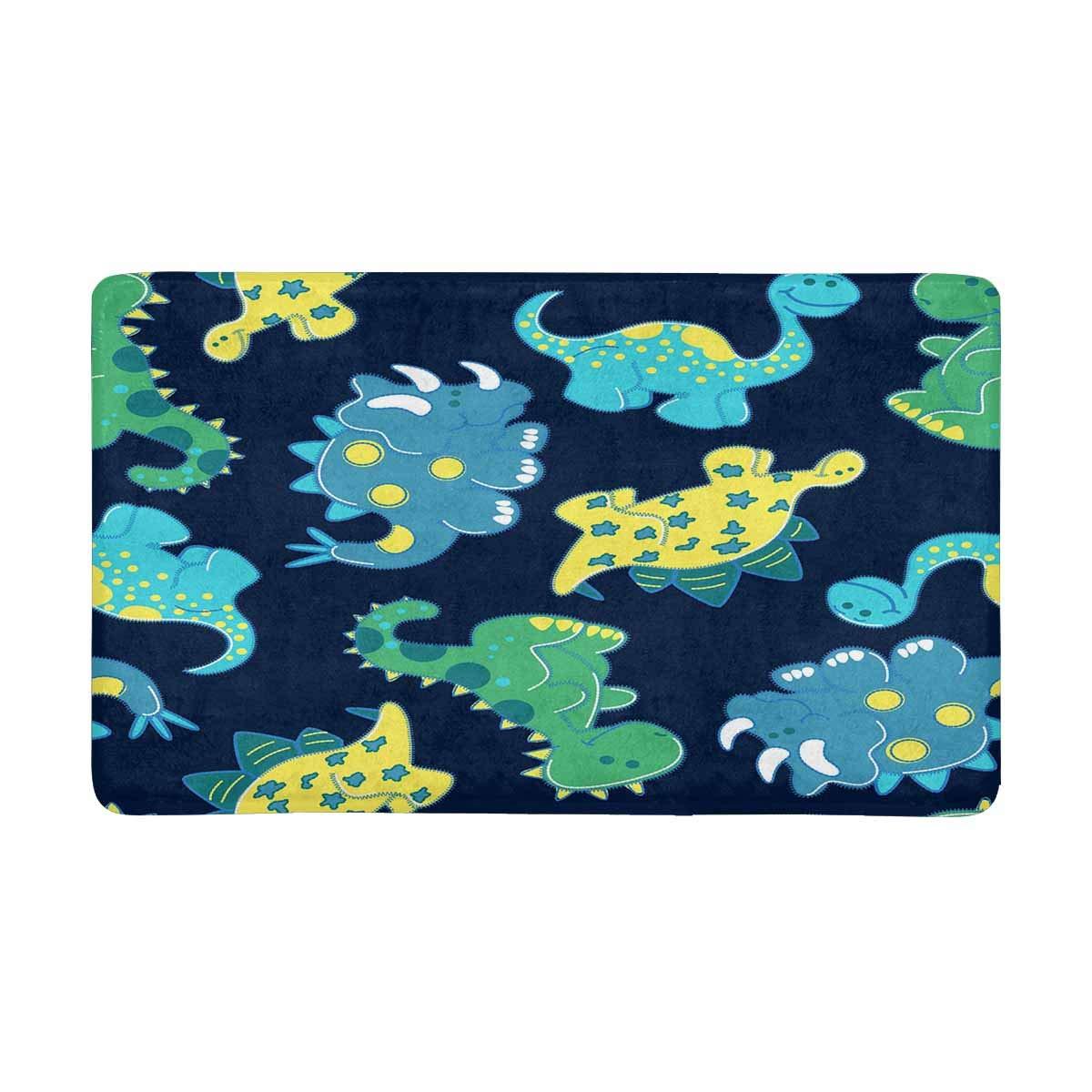InterestPrint Dinosaurs Doormat Non Slip Indoor/Outdoor Doormat Floor Mat Home Decor, Entrance Rug Rubber Backing 30''(L) x 18''(W)