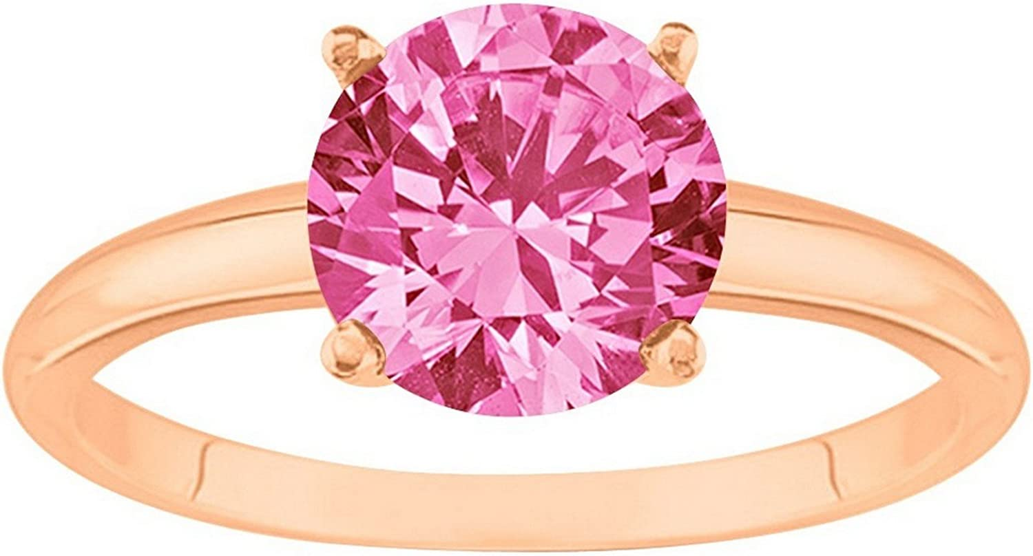 1/2-5 Carat 14K Rose Gold Round Pink Sapphire 4 Prong Diamond Engagement Ring (AAA Quality)