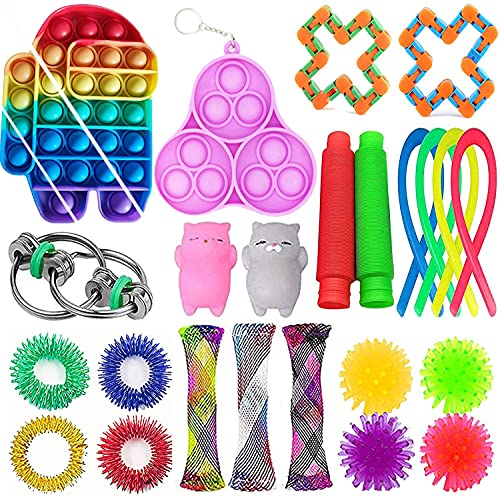 GNZREAI Sensory Fidget Toys Set, 24 Pcs Simple Sensory Fidget Toys Pack Cheap, Simple Dimple Fidget Toys Box, Stress Relief Kits for Kids Adults, Birthday Party Favors, School Classroom Rewards