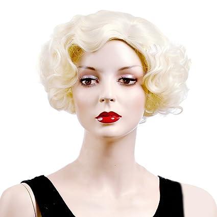Tangda Peluca de pelo rubio abrochado rizada corta, diseño de cuerpo de mujer SEXY,