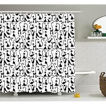Large Number Of Cats Posing Female Stylish High Fashion Shadow Illustration Polyester Fabric Bathroom Shower Curtain Set 75 Inches Long Black White