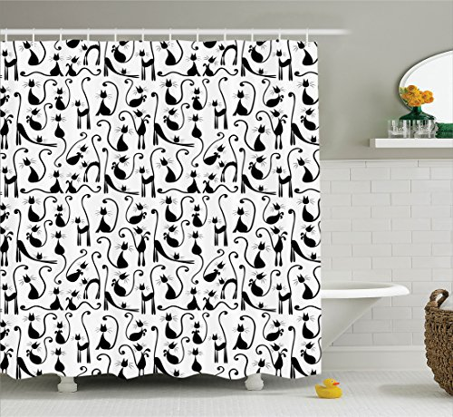Ambesonne Cat Lover Decor Collection, Large Number of Cats Posing Female Stylish High Fashion Shadow Illustration, Polyester Fabric Bathroom Shower Curtain Set, 75 Inches Long, Black White