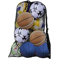 DECARETA Mesh Ball Bag,Zwarte voetbal schoudertas,Heavy Duty Drastring Ball met riem en koord sluiting,Ball Tote…