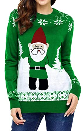 641d4ec0aaa Jotebriyo Women Christmas Warm Santa Large Size Crewneck Long Sleeve Print Pullover  Sweaters at Amazon Women s Clothing store