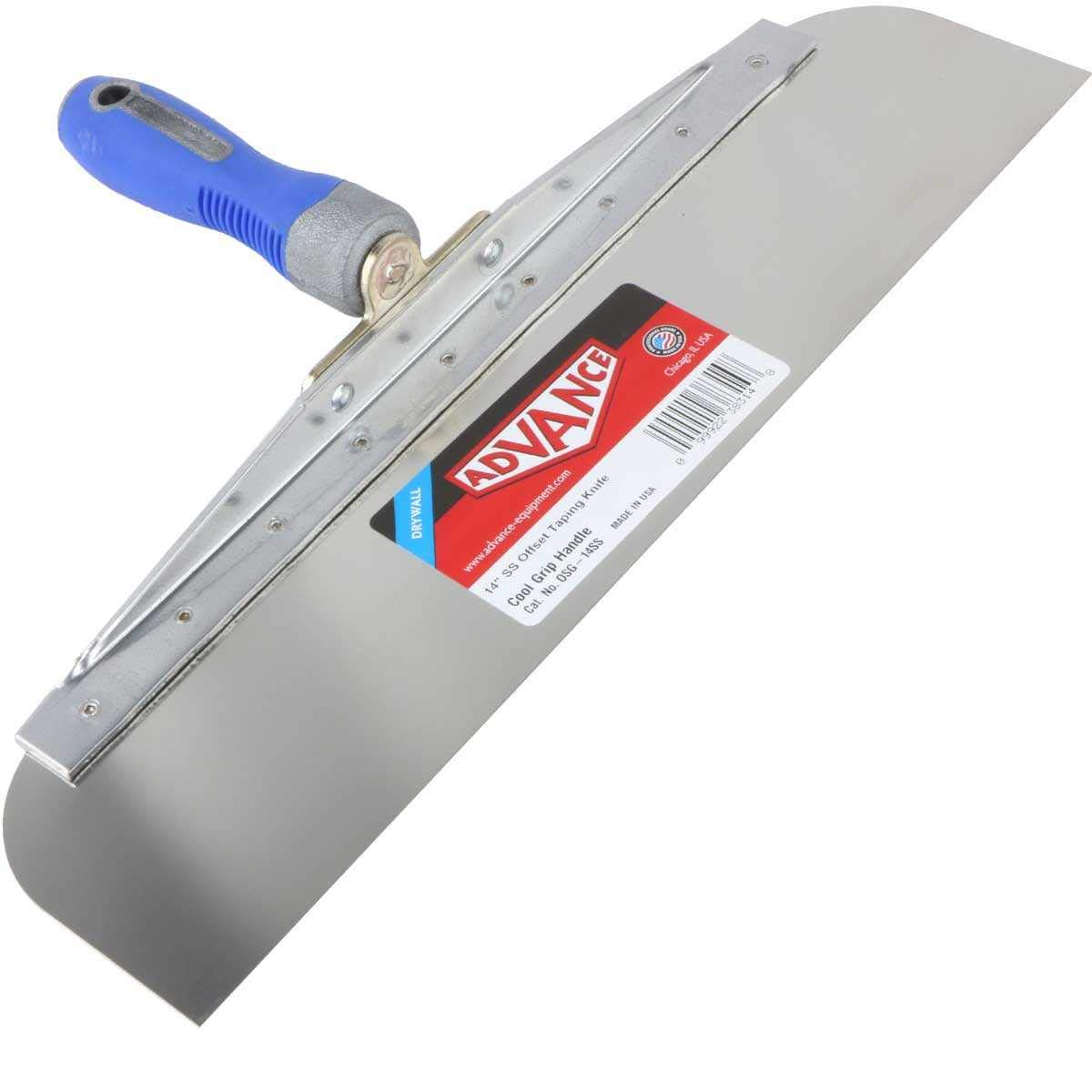 Advance Offset Taping Knife - 14'' Stainless Steel with Soft Grip Handle by Advance
