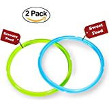 Instant Pot Silicone Sealing Ring - Seal Lasting & BPA-free - Fits IP-DUO60, IP-LUX60, IP-DUO50, IP-LUX50, Smart-60, IP-CSG60 and IP-CSG50 - Pack of 2 Blue & Green - By Super Kitchen