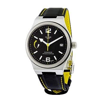 08137db7e4d Amazon.com: Tudor North Flag Automatic Black Dial Black Leather Mens ...