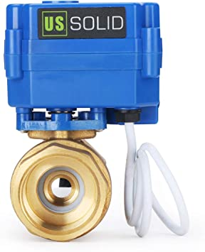 U.S Solid 1 V/álvula Motorizada 9-24V AC//DC Lat/ón 2 Vias V/álvula de bola electrica 2 Cables Regreso Automatico