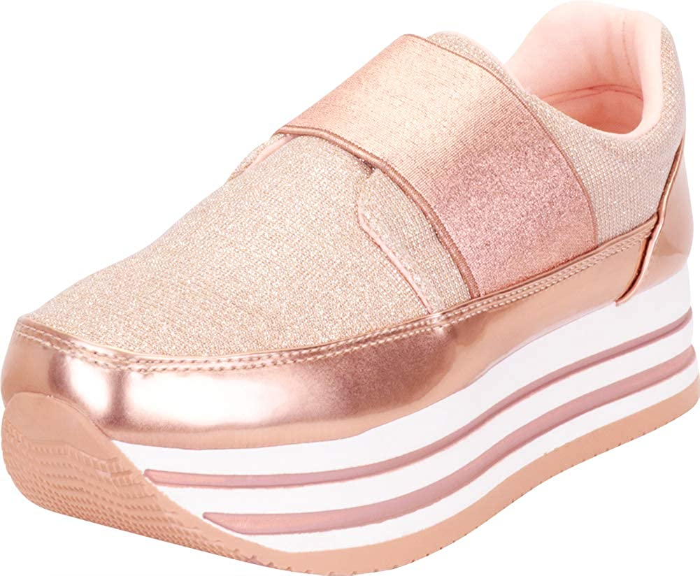 pink gold Cambridge Select Women's Glitter Stretch Slip-On Chunky Striped Flatform Fashion Sneaker
