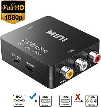 Convertidor RCA a HDMI, 1080P Mini RCA compuesto CVBS AV a HDMI, adaptador convertidor de audio