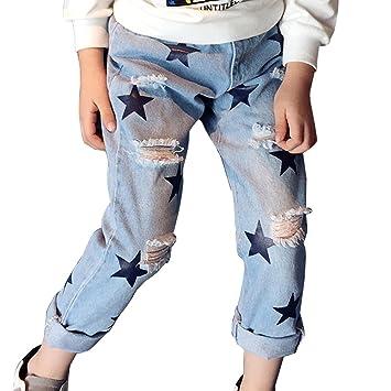 Guiran Pantalones Niñas Pantalones Vaqueros Rotos Jeans ...