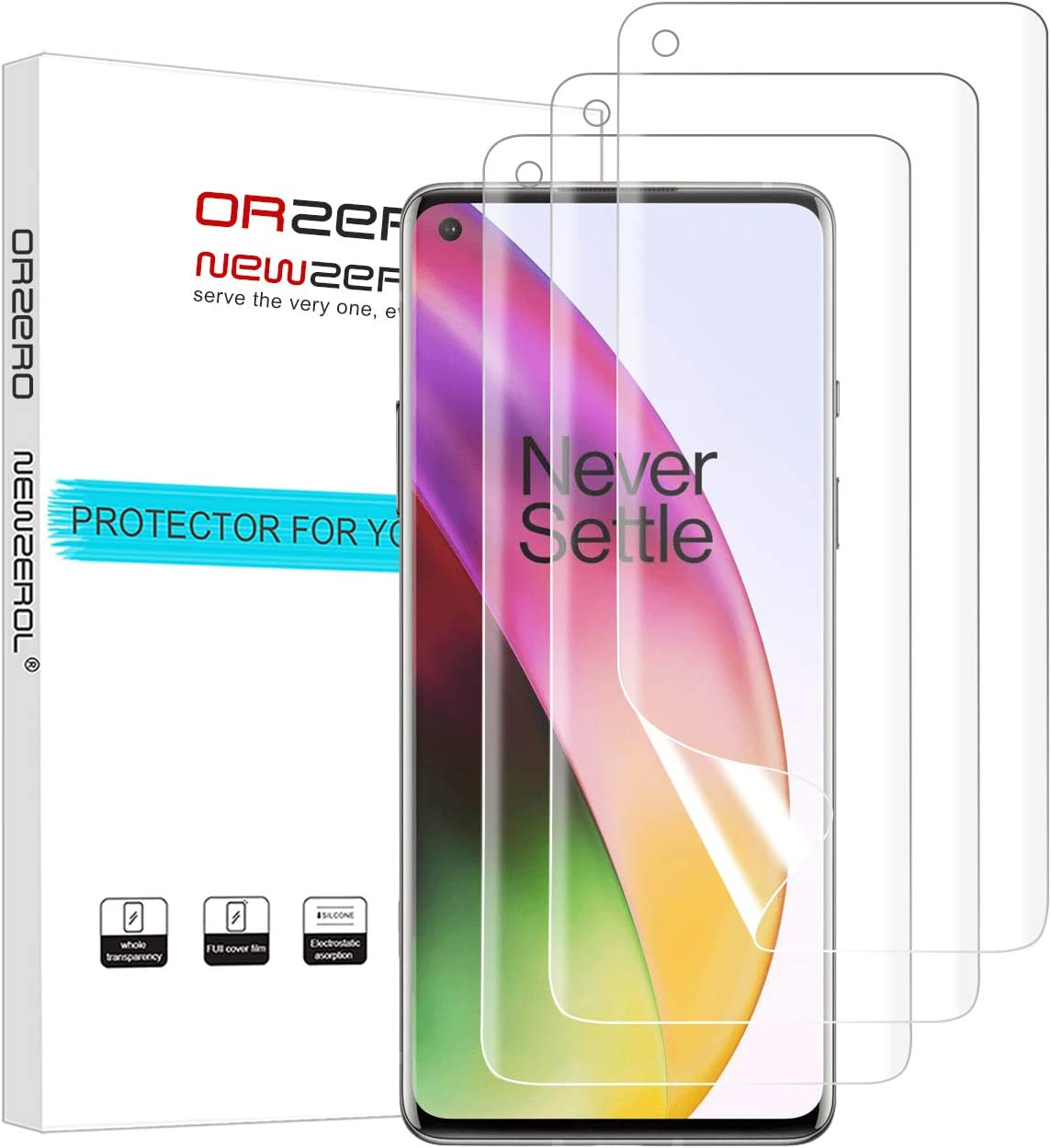 (3 Pack) Orzero Compatible for OnePlus 8 (Premium Quality) Edge to Edge (Full Coverage) Screen Protector, High Definition Anti-Scratch Bubble-Free (Not Glass) (Lifetime Replacement)