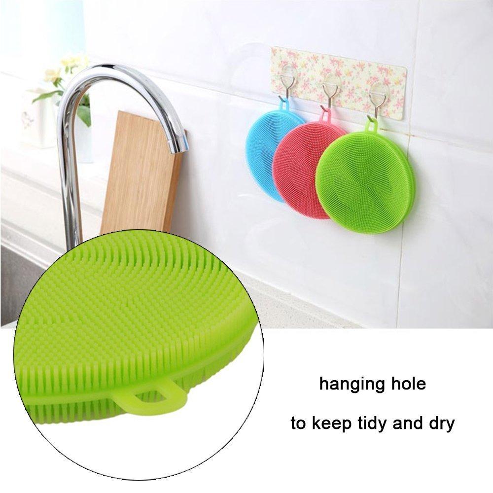 Multipurpose Silicone Dishwashing Brush - Food-grade Antibacterial Cleaner Scrubber Fruit - Kitchen Wash Tool Pot Insulated gloves Heat-resistant Mat - Pan Dish Bowl Dish Scrubber Brush (5 Pack)