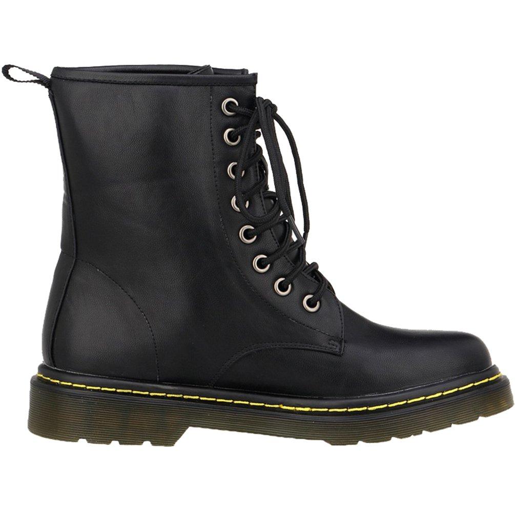 WanYang Bootsschuhe Stiefel Winter Boots fuuml;r Damen PU Leder Kurz Schlupfstiefel37 EU(Fu?l?nge:23.5CM/9.25?|Schwarz