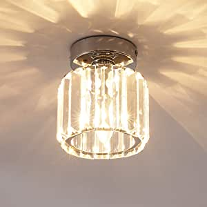 Ganeed Mini Flush Mount Ceiling Lamp,Crystal Close to Ceiling Light,1-Light Round Pendant Lighting Fixtures for Home Entryway Kitchen, Chrome