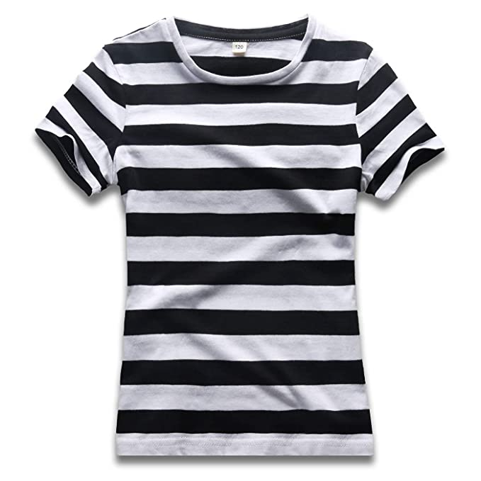 4543fb5c0 Boys Stripped T Shirt Short Sleeve Crew Neck Stripes Tee Top Black White  110cm