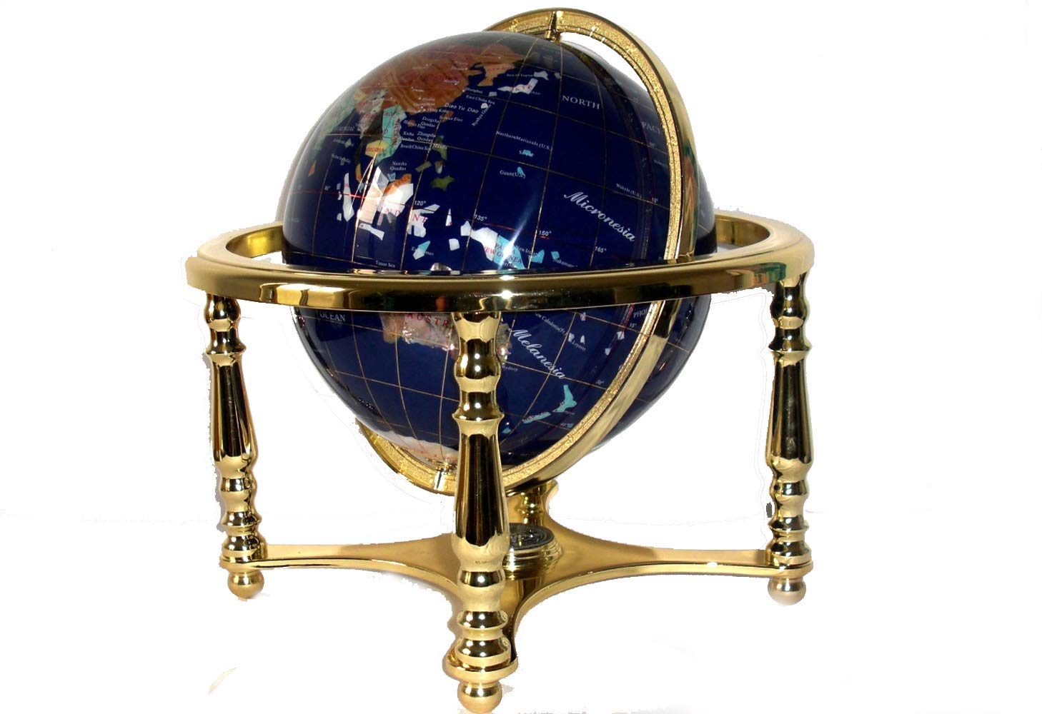 Unique Art 13 Tall Amber Pearl Ocean Gemstone Globe w Tripod Copper Stand