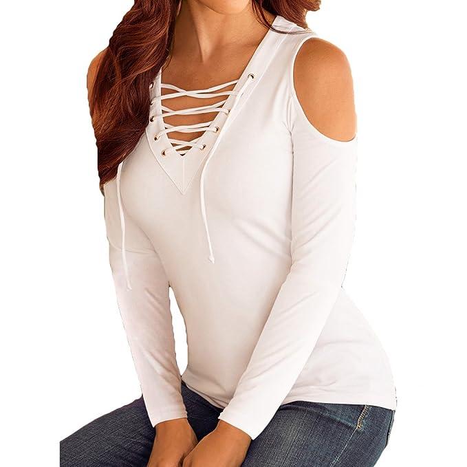 Mujeres Manga Larga Camisas Blusa T-Shirt Mujer Casual Cordón Up Cuello V T-