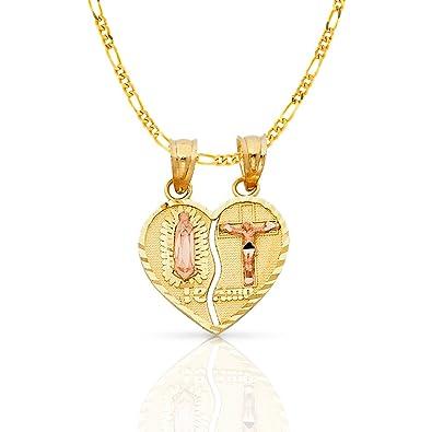 dd9883b6bbb5 ioka joyas - 14 K dos tono oro macizo religiosa Virgen de Guadalupe Jesús  te amo encanto colgante de corazón partido con 2 mm figaro 3 + 1 cadena  ...