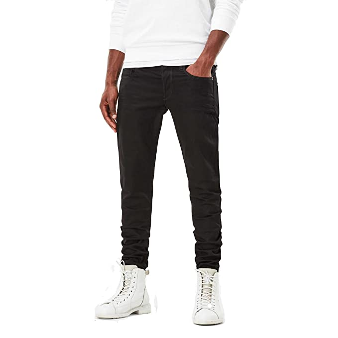 G-Star Raw Mens 3301 Slim-Fit Pant in Black Edington Stretch Denim Raw