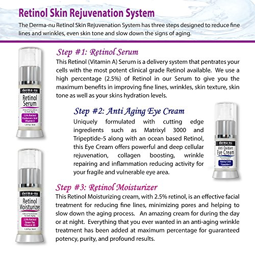 Retinol Skin Rejuvenation System - Anti Aging Products – Derma-nu 3 Piece Skin Care System – Retinol Cream, Retinol Serum & Anti Aging Eye Cream. Best Skin Treatment for Fine Lines & Wrinkles