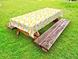 Ambesonne Yellow and White Outdoor Tablecloth, Cartoon Style Bananas Pattern Exotic Fresh Ripe Fruit Healthy Tropical, Decorative Washable Picnic Table Cloth, 58 X 84 inches, Yellow White