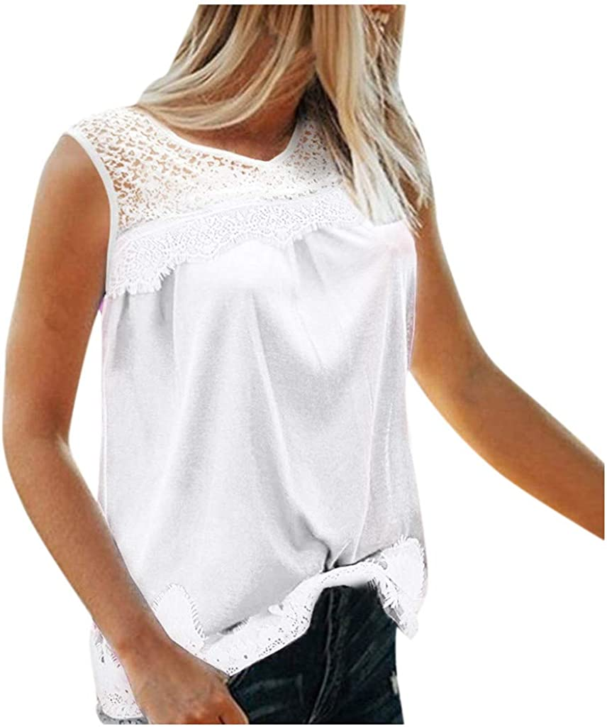 Women Tank Tops,Dainzuy Round Neck Sleeveless Lace Patchwork Hollow Out Tank Tops Shirts Plus Size Tunic Blouse