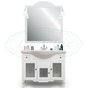 Badmöbel in Shabby Chic Holz weiß mit Spiegel und applicchi ...