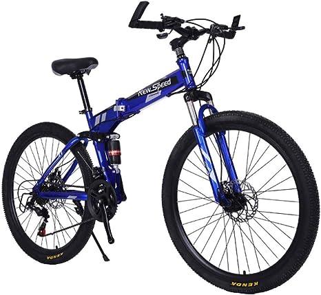 Bicicleta Plegable para Adultos De 26 Pulgadas para Hombre, Mujer, Sistema De Freno De Disco Doble,Azul: Amazon.es: Deportes y aire libre