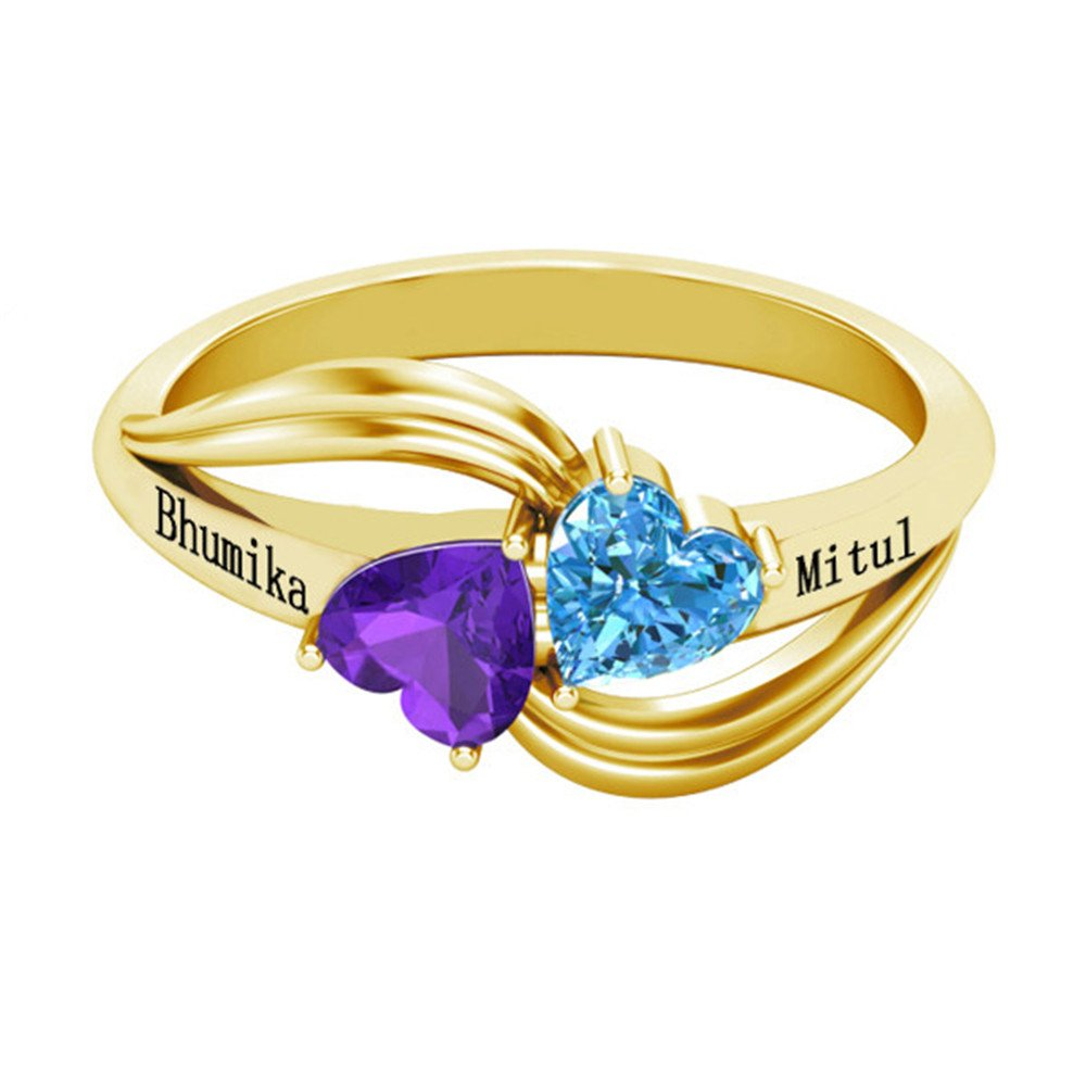 Shiny Alice Personalized Love Forever Engagement Heart Rings Couples Sumilated Birthstones Promise Rings for Her(Gold 9.5)