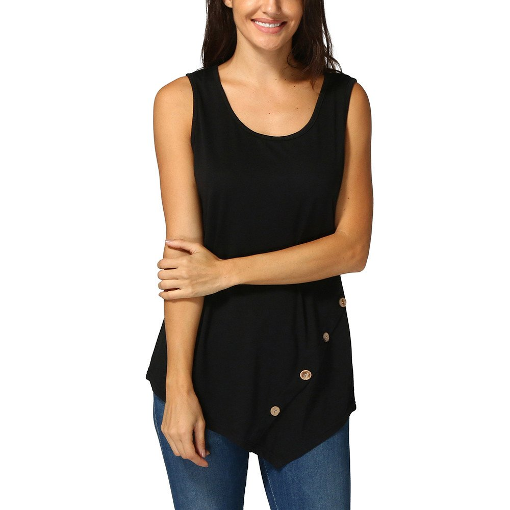 BXzhiri Women Tanks and Camis Sleeveless Loose Button Blouse Solid Color Round Neck Tunic T-Shirt Black
