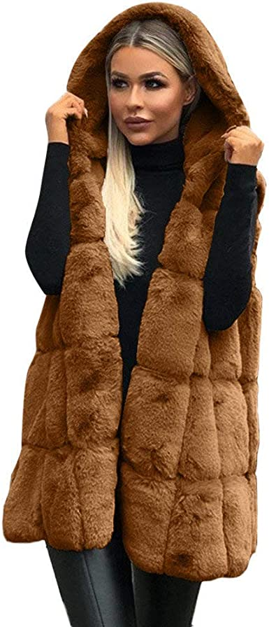 Damen Mantel Kapuzenjacke Fellweste Ärmellos Warm Gefüttert Stickerei Pelz Fell
