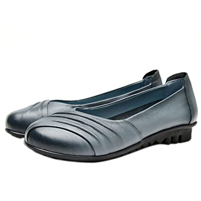 Qusanyua Casual Genuine Leather Flats Shoes Gray 6.5