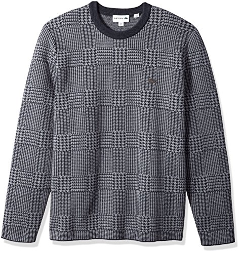 Lacoste Men's All-Over Wool Blend Jacquard Print Swater, Galaxite Chine/Graphite Large