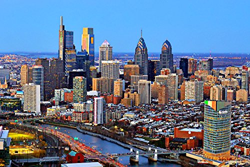 2018 Dusk Night UNFRAMED Color Philly City Downtown 20 inches x 30 inches Photographic Poster Print Photo Picture ()