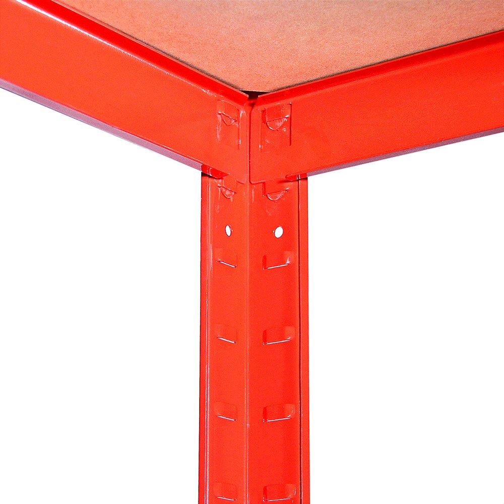 Capacit/é de 1325 kg tr/ès r/ésistant tr/ès Profond Garage Abri de Jardin Etag/ère de Rangement 180 cm x 90 cm x 60 cm 5 /étages 265kg par /étag/ère Rouge