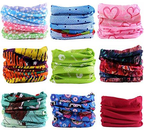 Kingree 9PCS Headwear, Womens and Mens Headband, Guys Sweatband & Sports Head Tie for ATV/UTV riding, Outdoor Magic Scarf, Bandanna Headwrap, (My Lovely Girl) Tie Bandana Neck