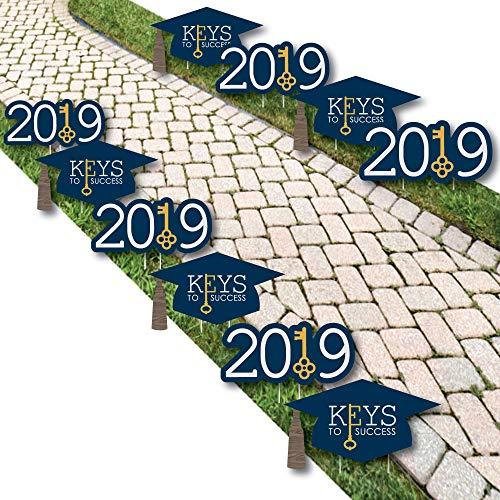 Big Dot of Happiness Grad Keys to Success - Grad Cap and 2019 Lawn Decorations - Outdoor Graduation Party Yard Decorations - 10 Piece]()