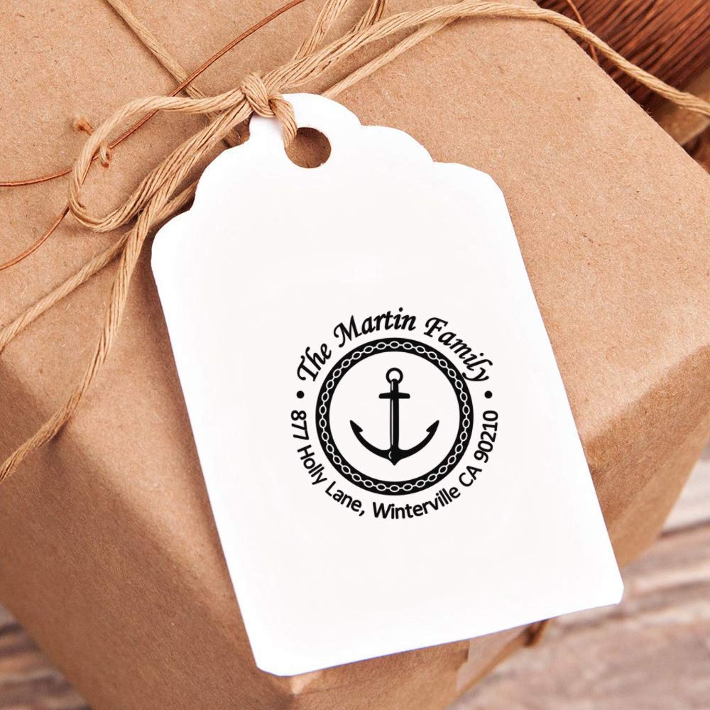 Navigation Sailing Ship Anchor Pattern Lable Round Office Stamp 1.65inch Personalized Return Self Inking Flash Stamp Thanksgiving Address Stamp Gift