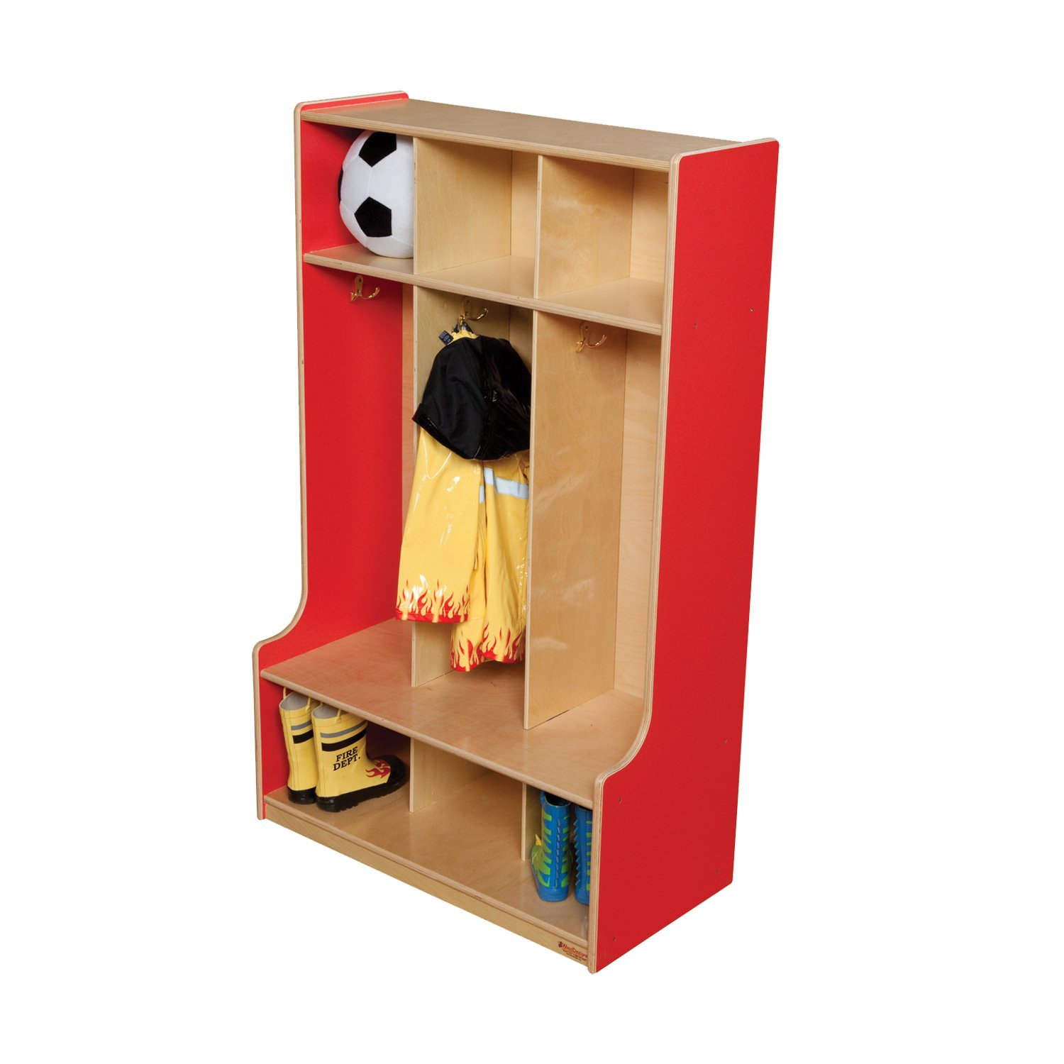 Wood Designs 51003R Strawberry Red 3 Section Seat Locker, 49'' Height, 18'' Width, 51.5'' Length