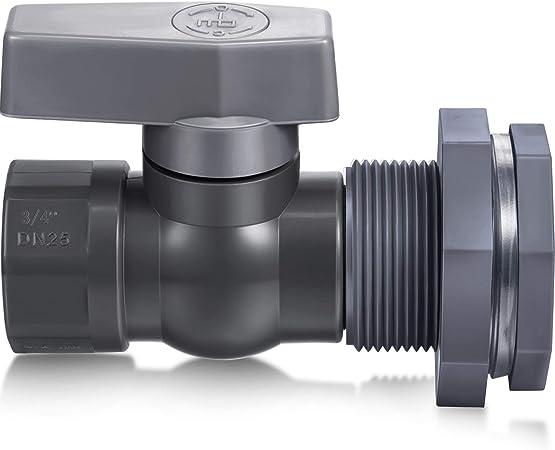 Mudder PVC Spigot Rain Barrel Faucet Kit Rain Barrel Valve with Bulkhead Fitting Adapter for Water Tanks, Aquariums, Tubs, Pools (Grey, 3/4 Inch)